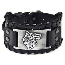 Ybollar Vintage Male Black Brown Wolf Head Cowhide Leather Bracelet Men Wide Bracelets Cuff Bangles Punk Rock Style Jewelry