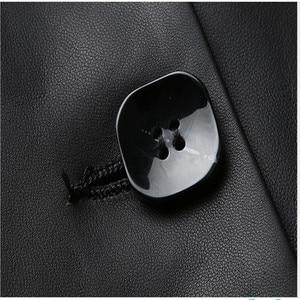 Image 5 - Jaqueta de couro preto topos marca feminina moda lazer solto casaco de pele carneiro primavera outono plus size longo couro genuíno trincheira