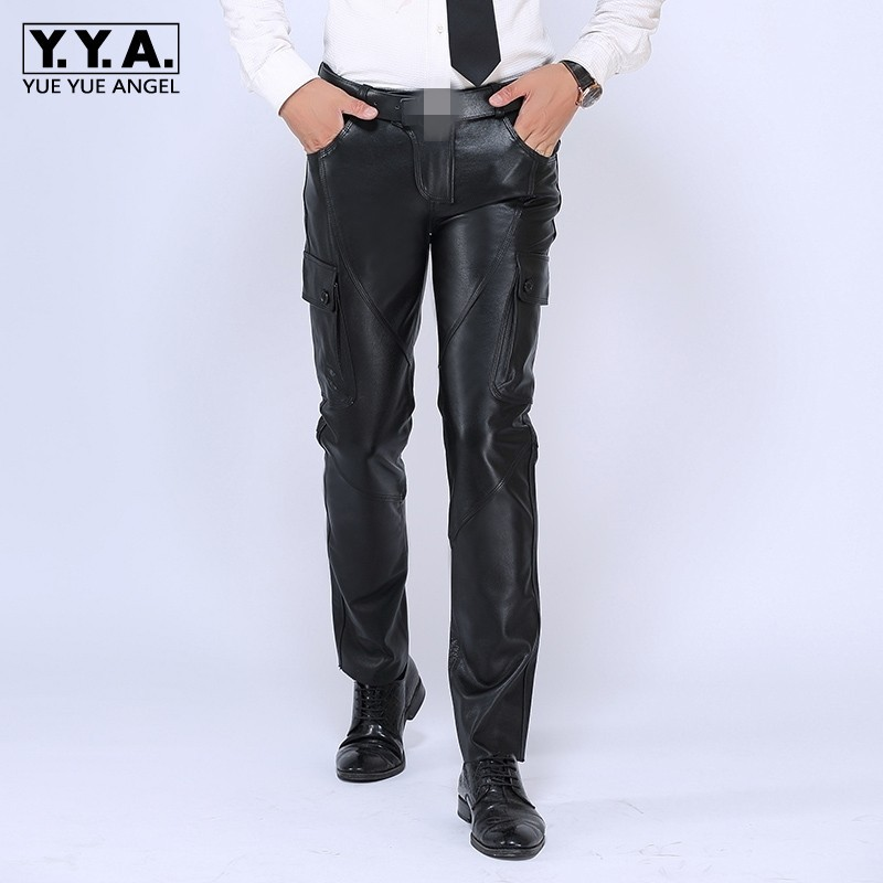 2020 New Mens Straight Pants Brand Luxury Genuine Leather Long Pants Male Fashion Cowhide Real Leather Warm Motorcycle Trousers
