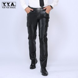 2020 Nuovi Mens Pantaloni Diritti di Marca Di Lusso Del Cuoio Genuino Pantaloni Lunghi Maschio di Modo Della Pelle Bovina di Cuoio Reale Caldo Pantaloni Da Moto