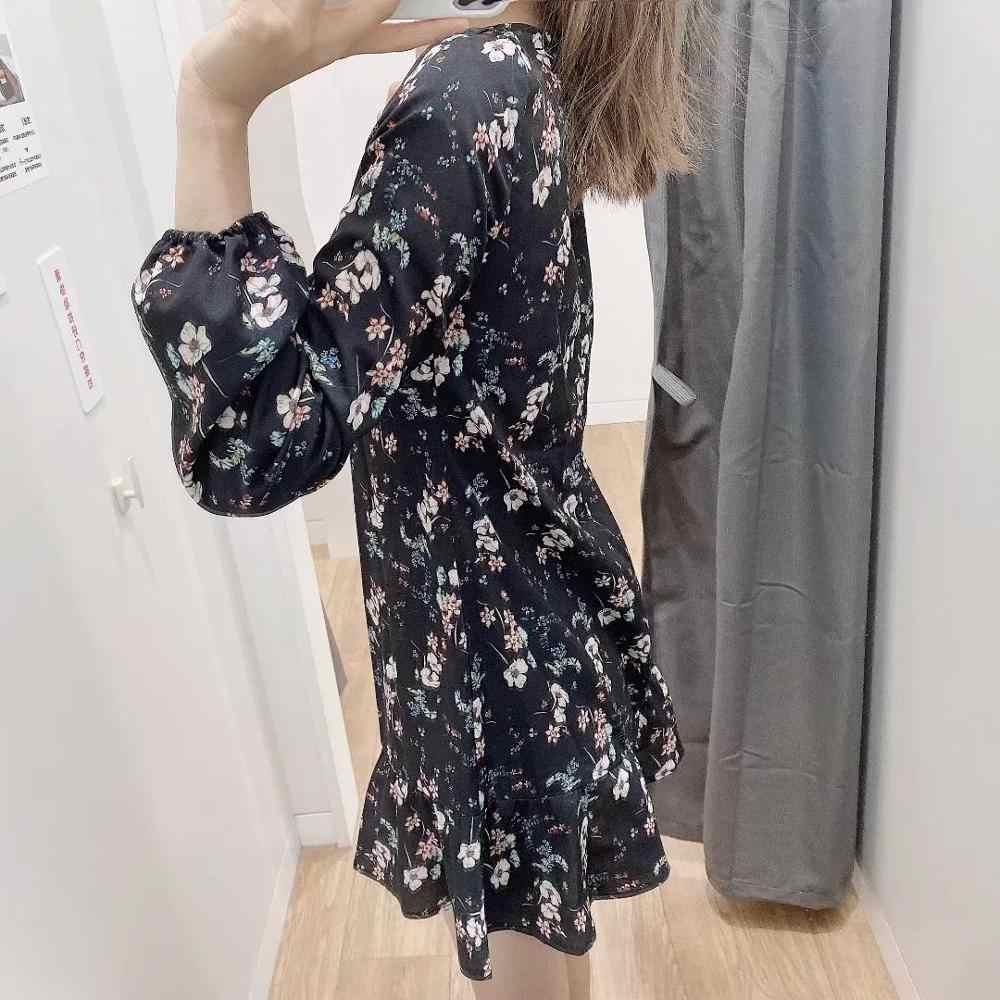 ZA 2020 frühjahr neue frauen schwarz floral Print volle hülse chiffon kleid chic damen mode vintage stil weibliche kleider