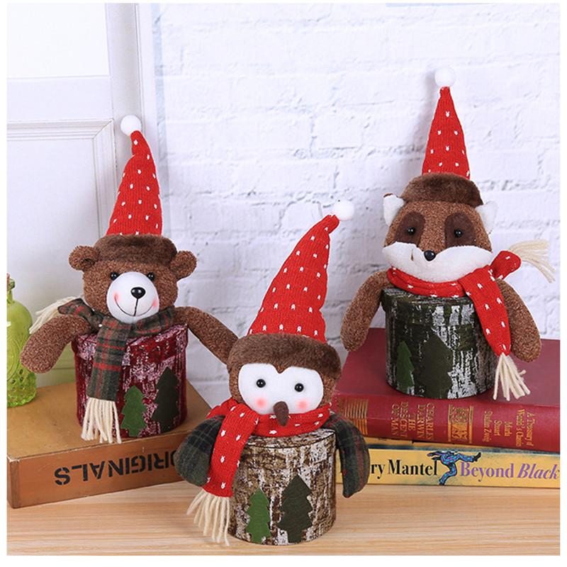 1pc 32x18cm Cloth Christmas Candy Gift Boxes For Xmas Holiday Party Kids Gift Cartoon Animal Christmas Decoration New in Stockings Gift Holders from Home Garden