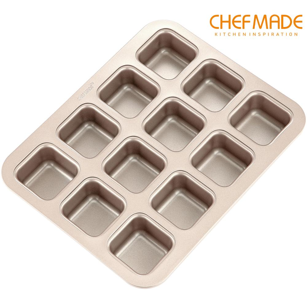 CHEFMADE Brownie Cake Mold,12-Cavity Non-Stick Square Blondie Bread Pan, FDA Approved for Oven Baking image