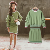 Girls Fall Outfits Long Sleeve Sweet Tops+Lacework Skirt Kid Girl Clothes Sets 10 12 Year Girls Sets Clothing 2019 girls clothes