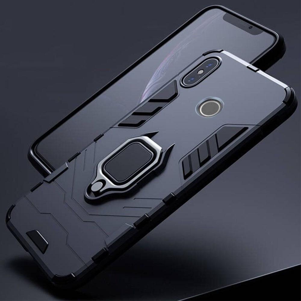 Dla Xiaomi Redmi Note 5 6 Pro Case pancerz PC pokrywa metalowy uchwyt pierścienia etui na telefony dla Mi A2 A 2 lite pokrywa odporny na wstrząsy twardy zderzak