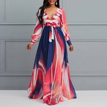 Boho V-Neck Long Sleeve Printed Maxi Dress Vacation Comfortable Chiffon African Casual Elegant Fit And Flare