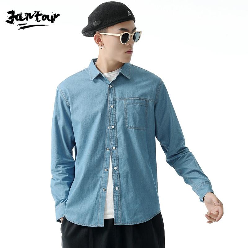 Shirt Men Korean Style Denim Wash Sky Blue Shirt Men's Slim Casual Long Sleeve Shirt Male