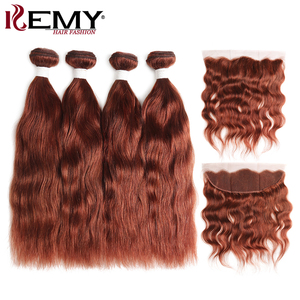 Image 3 - Brown Auburn Human Hair Bundles With Frontal 13x4 KEMY Brazilian Natural Wave Human Hair Weave Bundles With Closure Non Remy