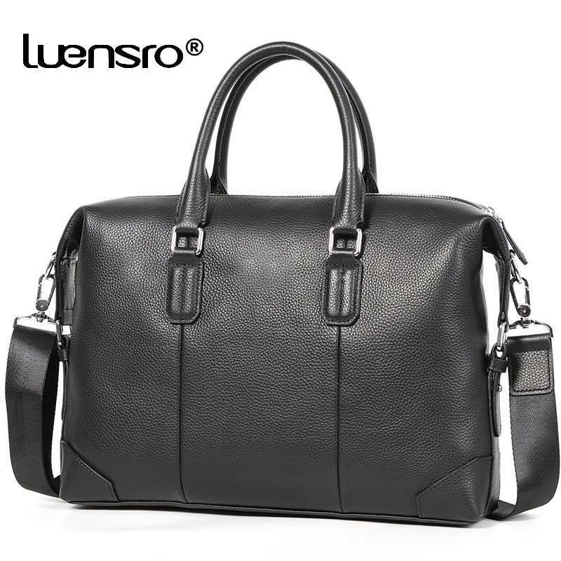 100% Genuine Leather Men Bag Briefcase Fashion Shoulder Bags Travel Bags Multiple Compartment Laptop Bag Men Handbag 2019 New