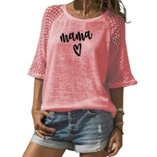 2019 Lace Crew Neck T-Shirt T-Shirt For Women MAMA Letters Print Women Top Plus Size T-Shirt Female Size Graphic Tees Women недорого