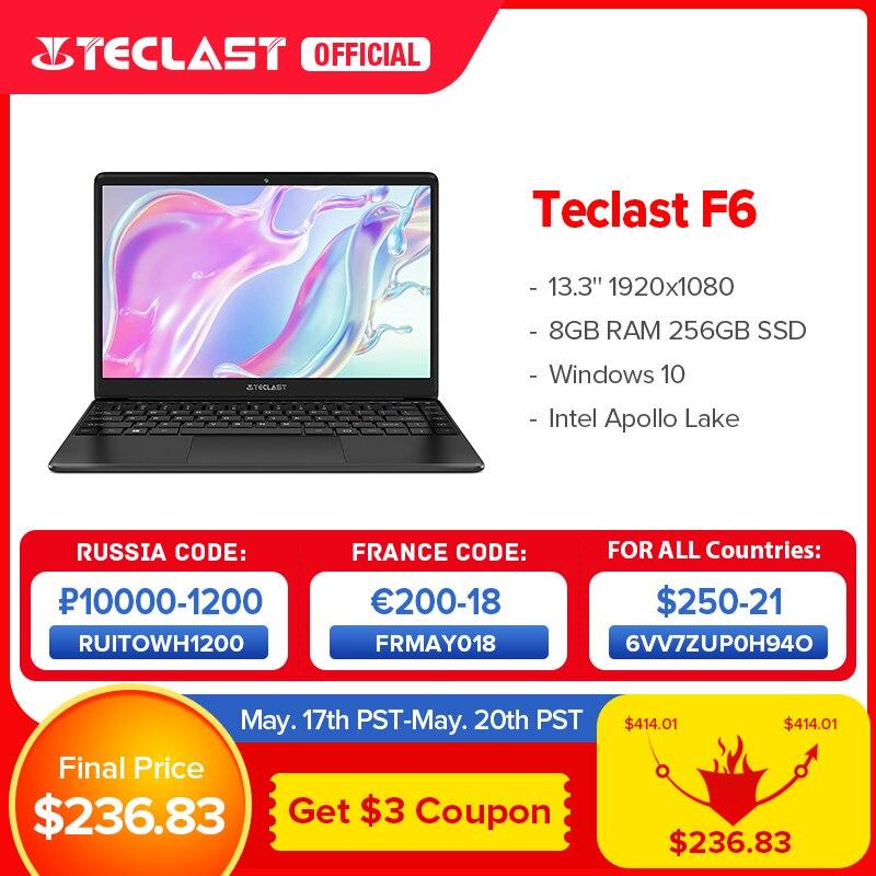 """Newest Teclast F6 Laptop 13.3"""" FHD IPS 1920x1080 Intel Apollo Lake Windows 10 Laptops 8GB LPDDR4 128GB SSD Notebook 1.28KG 1"""