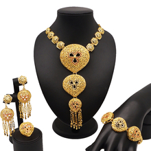 Bridal Jewelry Set Nigerian Wedding necklace set  Gold Jewelry Sets for Women African Big  Necklace bracelet earring sets недорого