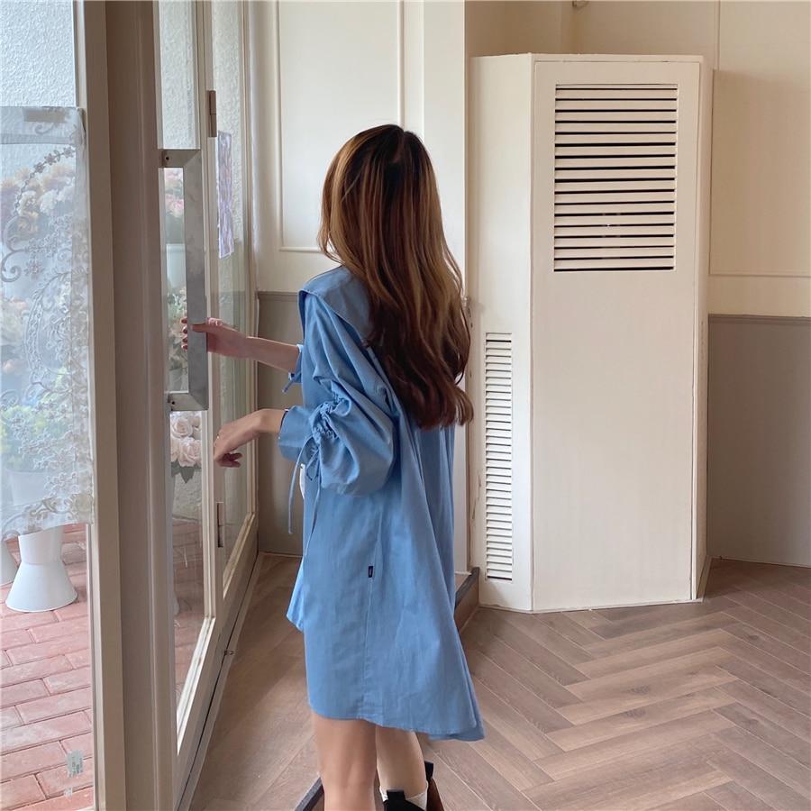 H477ff8ecb92c4234886a14f3687a7406i - Autumn Korean Big Lapel Collar Long Sleeves Drawstrings Solid Mini Dress