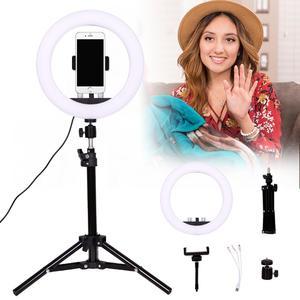 Image 2 - GSKAIWEN 10 w LED na żywo Selfie Studio makijaż uroda wideo ściemnialna lampa pierścieniowa ze statywem