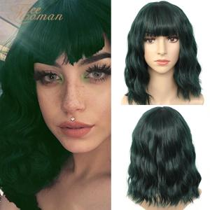 FREEWOMAN Green Synthetic Wig Lolita Short Bob Wig With Bangs Cosplay Water Wave Synthetic Hair Wigs For Women American Style(China)