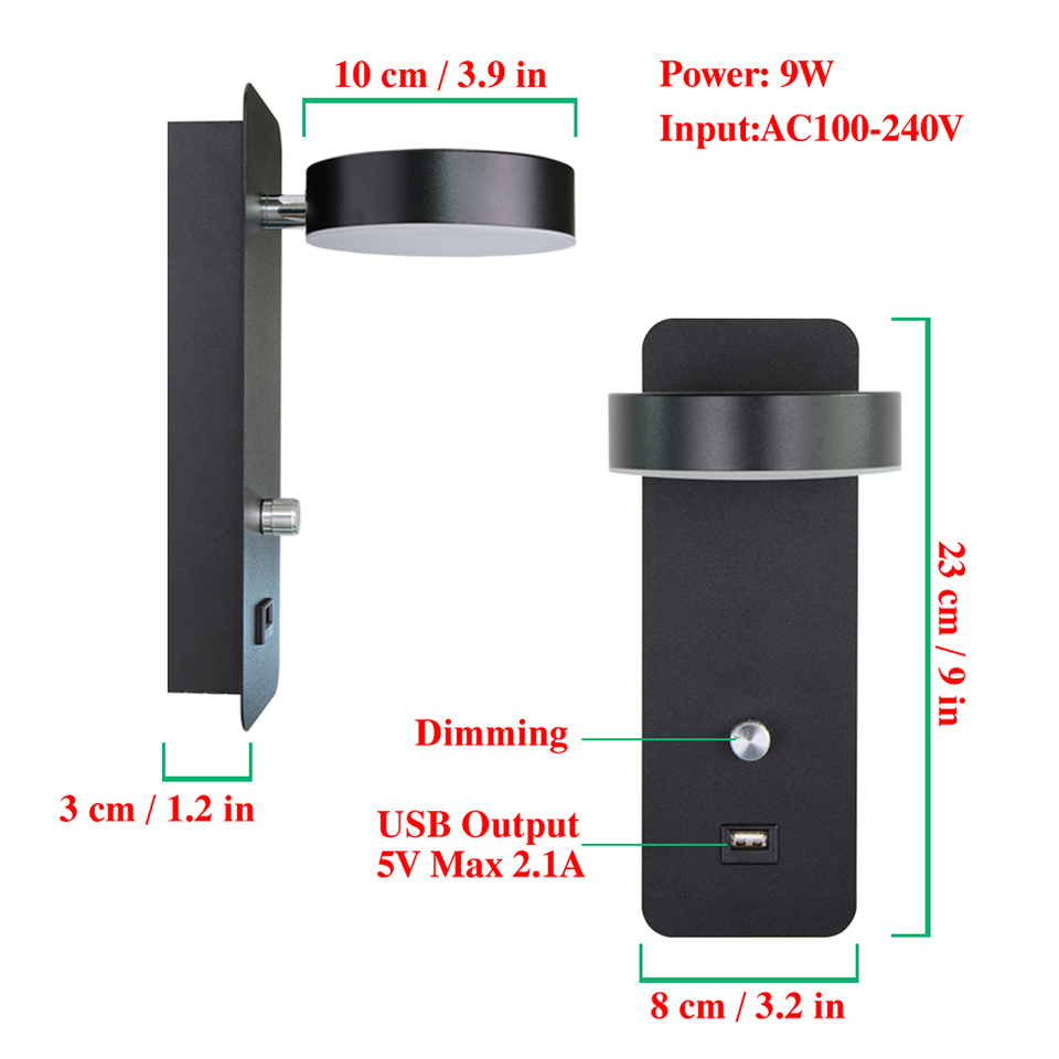 lampada de parede led botao interruptor regulavel 04