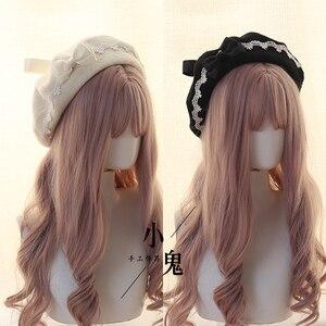 Image 4 - יפני Kawaii כומתה כובע לוליטה בגיל ההתבגרות לב מתוק צמר בעבודת יד חמוד תחרה Bowknot חם סתיו חורף צייר כובע כיסוי ראש