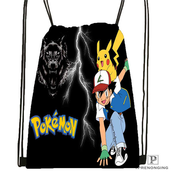 Custom Pokemon  Drawstring Backpack Bag Cute Daypack Kids Satchel (Black Back) 31x40cm#180612-02-32