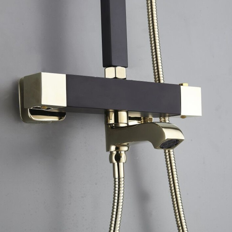 H47805585f9044bd3a373f978bd583c4af New Thermostatic Shower Faucet Bathroom Faucet Waterfall Bathtub Shower Mixer Taps Black And Gold Wall Mounted Washing Faucet