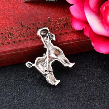 SINLEERY lindo perro de Metal pasadores Broches para animales Color de plata antiguo de Broches Retro joyería solapa pines XZ011 SSK