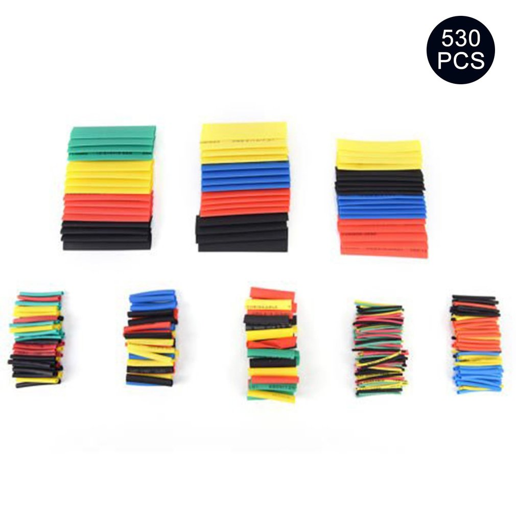 530PCS Heat Shrink Tubing Polyolefin Electrical Wrap Wire Cable Sleeves PE Insulation 2:1Shrinkable Tube Assortment Kit