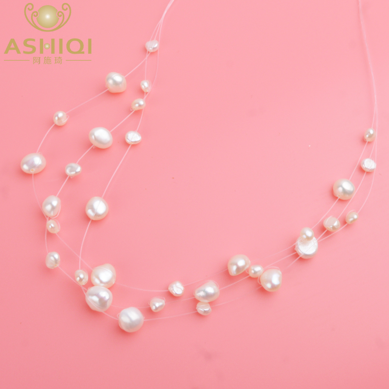ASHIQI Multilayer White Natural Baroque Pearl Choker Necklace For Women Simple Style Handmade DIY Wedding Party Jewelry Gift