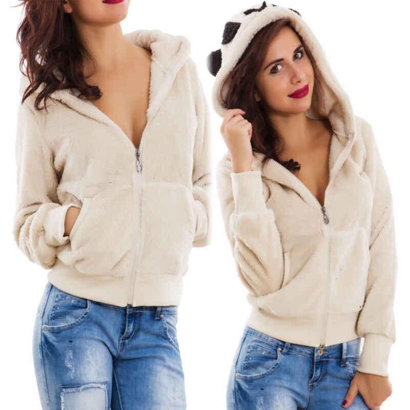 Goocheer womens 겨울 새 테디 베어 포켓 털이 코트 양털 모피 스웨터 겉옷 후드