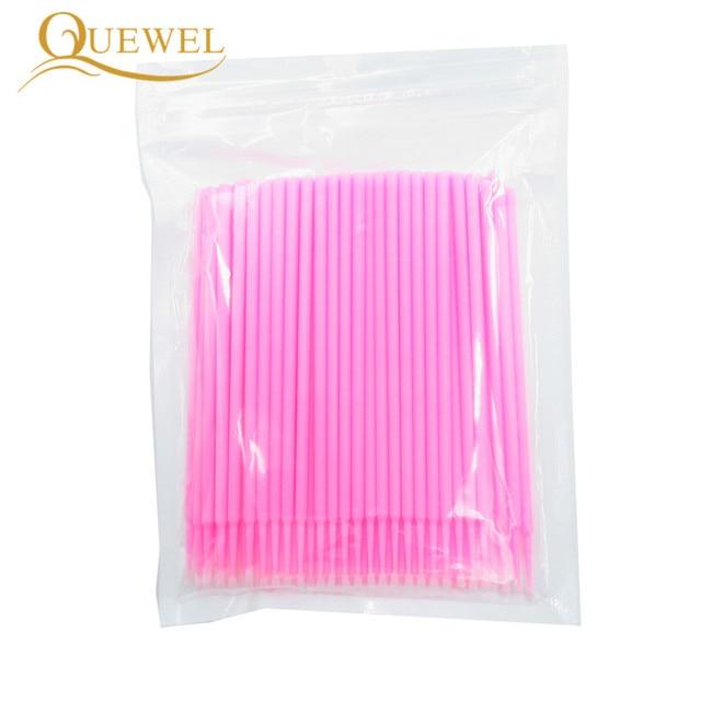 100pcs/lot Micro Brushes Eyelash Extension Make Up Eye Lash Glue Brushes Disposable Applicators Sticks Quewel Makeup Tools