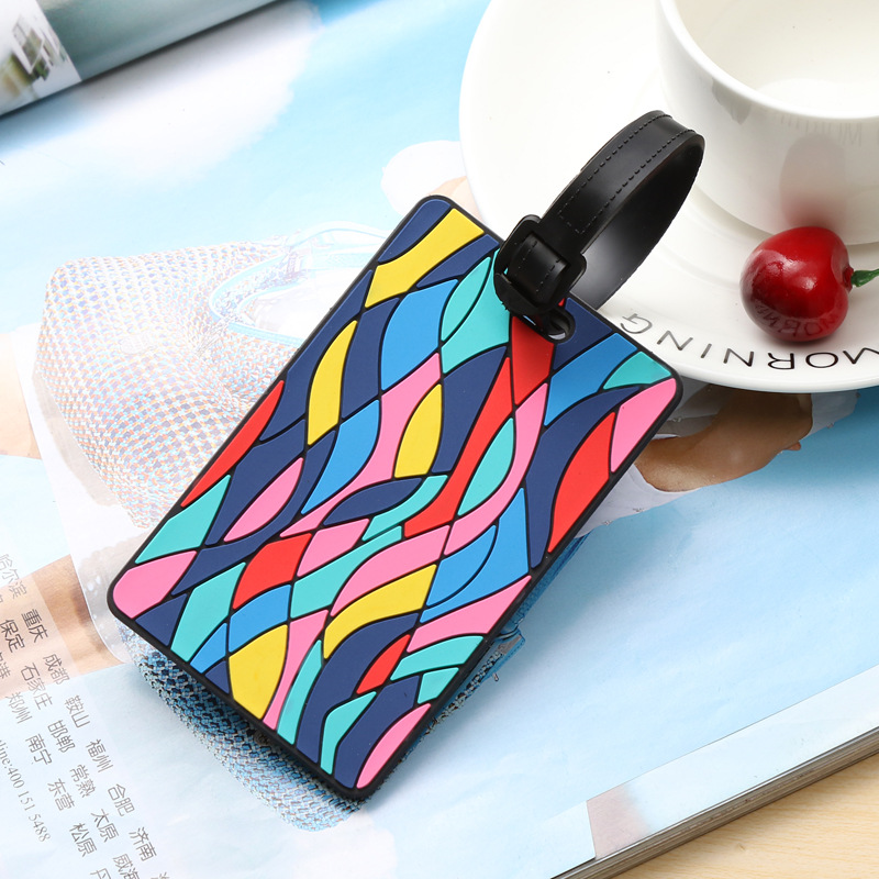 Geometric Travel Luggage Label Mark Straps Suitcase ID Address Holder Baggage Boarding Bag Tag Luggage Tags Travel Accessories