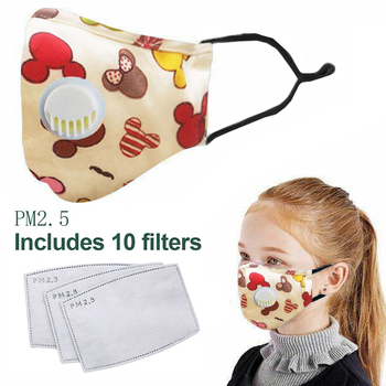 Kids Dust Mask Cartoon Pm2.5 Antibacterial Filter Cotton Mask Respirator Children Mouth Mask Reusable with Antiperspirant Valve
