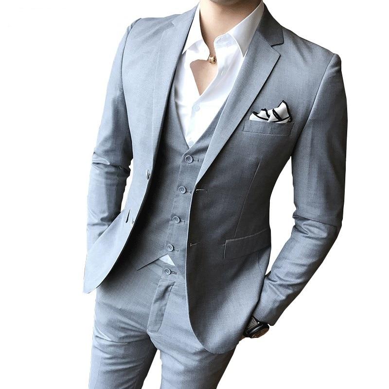 (Jacket + Pants + Vest) New Men's Solid Color Slim Suit 3 Piece Fashion Boutique Men's Wedding Business Men's Office Formal Suit