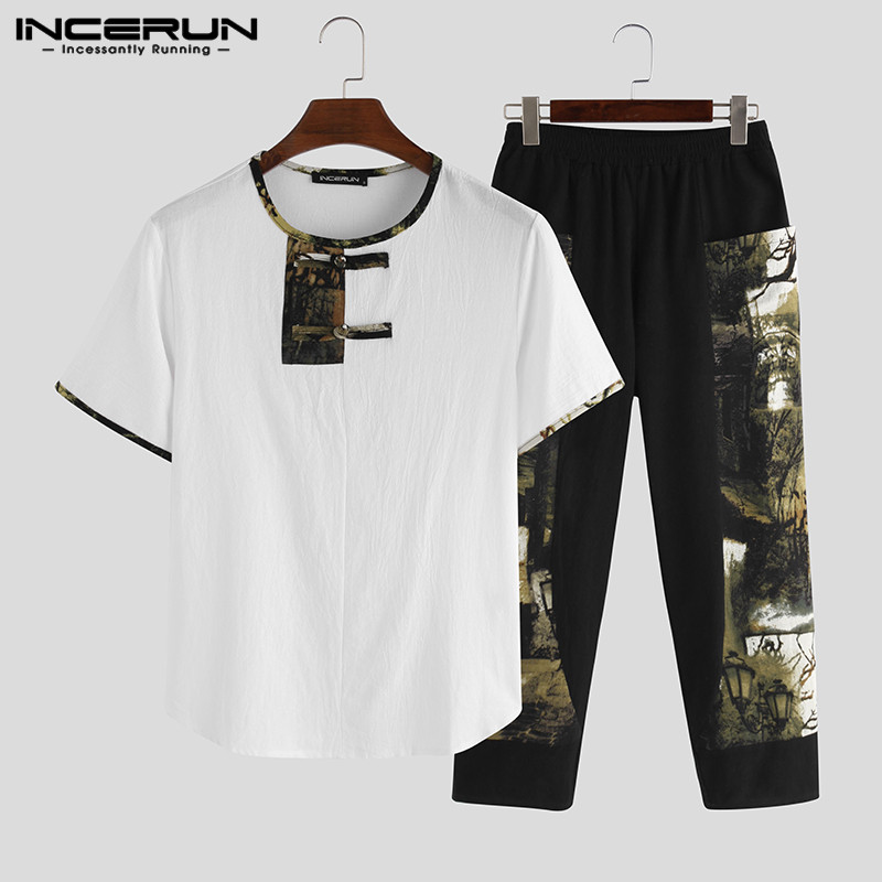 Chinese Style Printed Men Sets Streetwear Short Sleeve Casual Shirt Elastic Waist Pockets Pants Vintage Ethnic Men Sets INCERUN