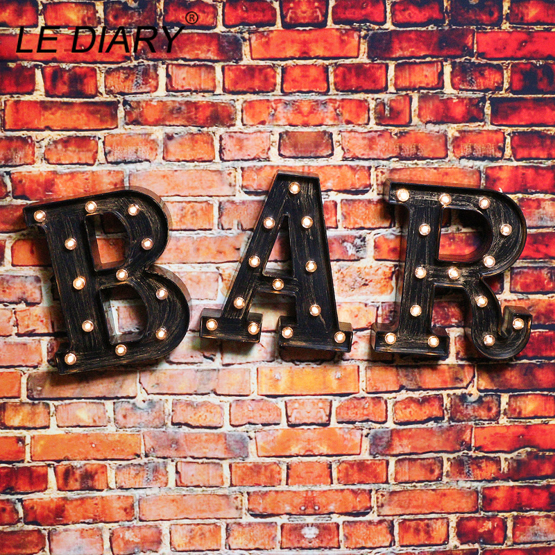 LEDIARY A-Z & Letter Night Lights LED Lamp Industrial Style Bar Cafe Shop Decor Home Festival Wall Night Light Christmas Gigt