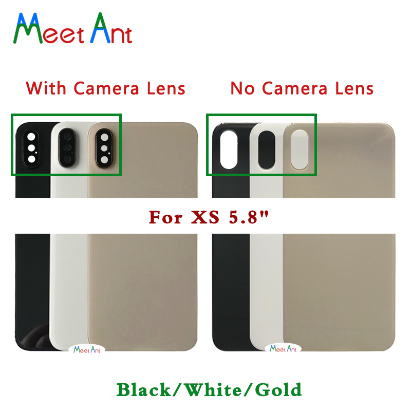 New High Quality Back Glass For Iphone X / XS / XS MAX Battery Cover Rear Door Back Housing Cover Glass With Camera Lens