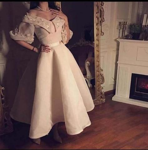 Vestido de Formature Fora do Ombro Vestidos de Baile Simples Elegante Appliqued Renda Meia Manga Chá Comprimento Mas