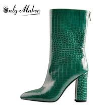Onlymaker מחודדת Toe10CM אבן דפוס חזרה רוכסן שמנמן עקבים גבוהים ירוק אופנה עבה קרסול מגפי גודל גדול US5 ~ US15