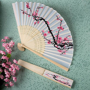Classical Cherry Blossom Print Folding Hand Fans Flower Print Vintage Fan White Polyester Fans Summer Girls Dancing Fan image