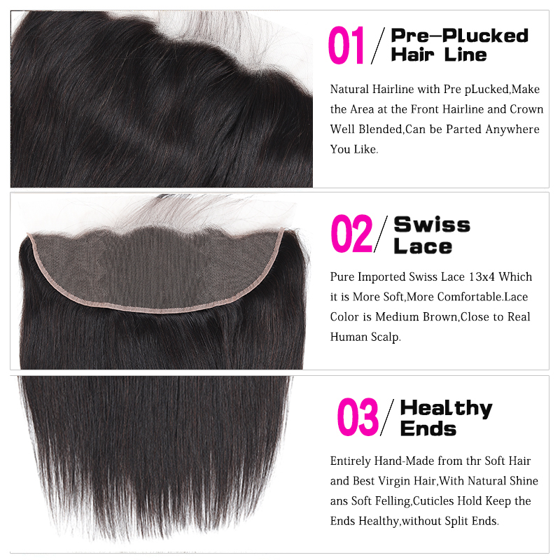 H478123e2bf96479fbc87ccfa32e08b7af Funky Girl Malaysia Straight Ear To Ear Lace Frontal Closure With Bundles Human Hair Weave Non Remy Hair Extension 3/4 Bundles