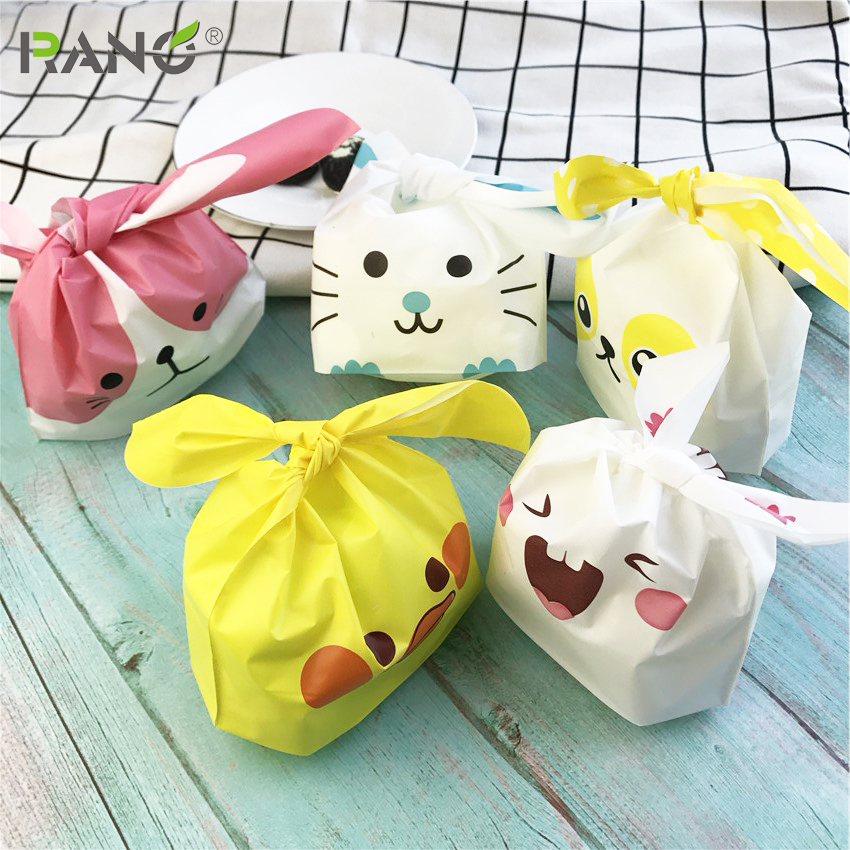 Купить с кэшбэком RANO Cute Animal Ear Cookie Bags Gift Bags For Candy Biscuits Snack Baking Package Wedding Favors Gifts Party decoration