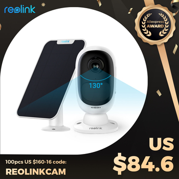 Reolink Argus 2 and Solar Panel Camera WiFi 1080p Full HD 130° viewing angle PIR 2-Way Audio Rechargeable Battery Google Home - discount item  49% OFF Video Surveillance