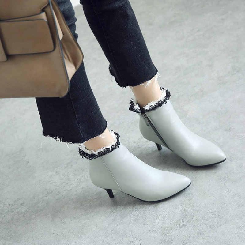 Sianie Tianie Mùa Đông 2020 Giày Gót Thấp Người Phụ Nữ Thời Trang Phụ Nữ Giày Có Phối Ren Khóa Kéo Lên Nữ Giày Nữ Plus Kích Thước 44 45 46 47