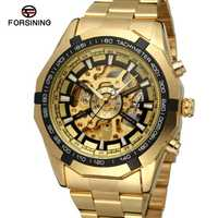 Sport course série squelette hommes montre en acier inoxydable noir or cadran Forsining montres hommes automatique montre-bracelet pour hommes