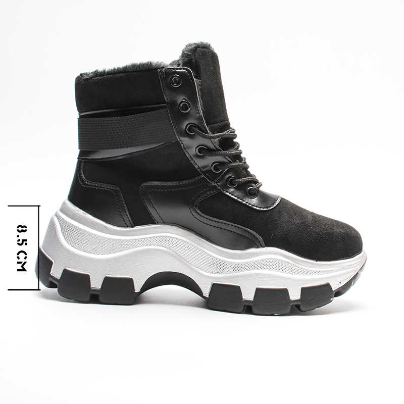 Fujin Giày Bốt Nữ Nền Tảng 2019 Mới Mùa Đông Sang Trọng Lông Giày Retro Nữ Thoáng Khí Giày Nữ Ấm Áp Ủng Giày Sneaker Boot