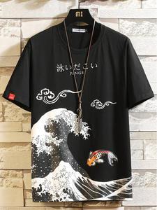 Мужская футболка в стиле хип-хоп, хлопковая Футболка большого размера с забавным аниме принтом и о-вырезом, летние японские мужские повседн...