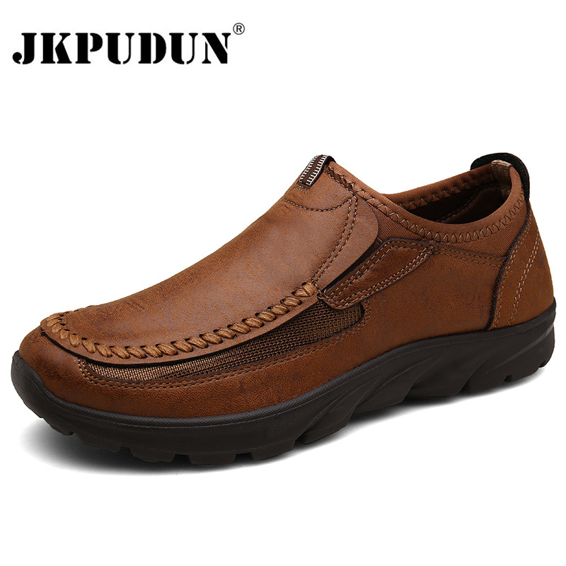 Leather Men Casual Shoes Zapatos Brand 2020 Men Loafers Moccasins Breathable Slip On Driving Shoes Plus Size 39-48 Drop Shipping