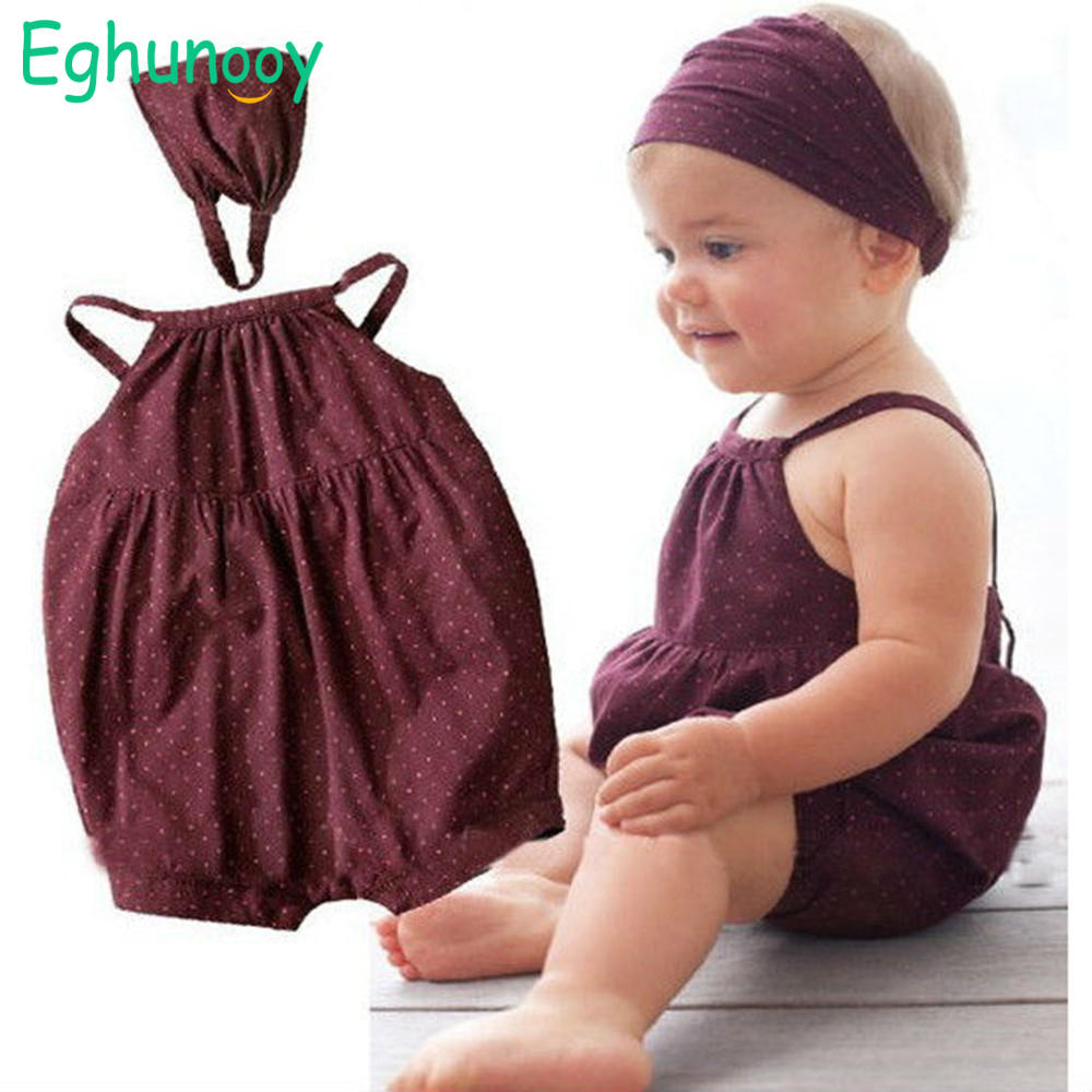 Girl Outfits Headband Newborn-Baby Deep Infant Summer Red Harnesses Round-Dots