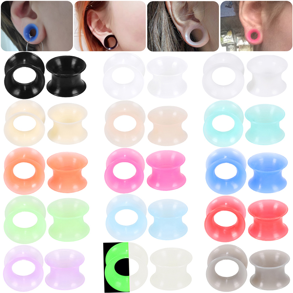 2Pcs 3-16mm Silicone Ear Plugs And Tunnels Earlets Double Flared Ear Stretcher Expander Earring Piercing Ear Gauges Body Jewelry