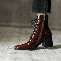 European brands Women boots Genuine leather Martin boots lace up Fashion boots Women's shoes