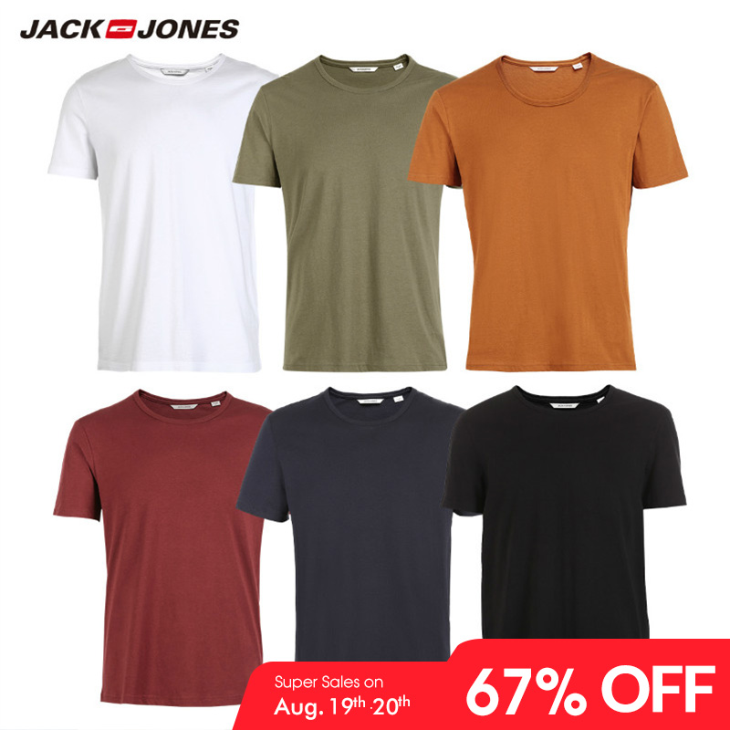 Men's Top Menswear Fashion t-Shirt Jackjones Solid-Color Brand-New Cotton 2181T4517