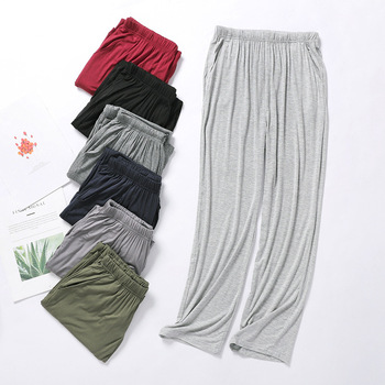 Modal Pajamas Pants Thin Men's Summer Home Trousers Male Plus Size Casual Anti-mosquito Air Conditioning Pants Sleepwear Men